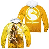 Trevco Mortal Kombat XI Scorpion Unisex Adult Front and Back Sublimated Pull-Over Hoodie for Men and Women, Medium White