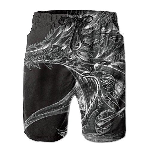 Amazing Dragon Tribal Men's/Boys Casual Shorts Swim Trunks Swimwear Elastic Waist Beach Pants with Pockets by 2018 pants