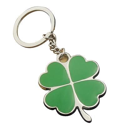 Amazon.com: Vosarea Fou Leaf Clover Keyring Metal Keychain ...