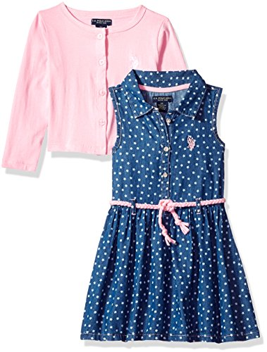 U.S. Polo Assn. Girls' Toddler Dress with Sweater or Jacket, Cropped Cardigan Braid Belt Prism Pink, 2T