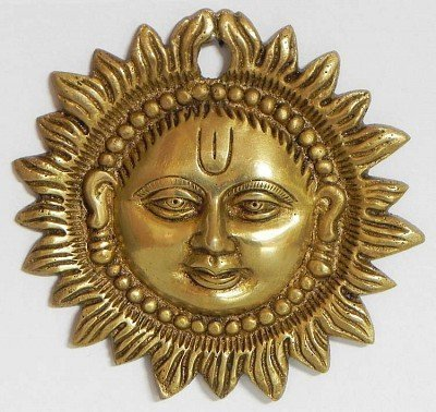 Zap Impex Wall Hanging Sun Face Brass Metal Plaque Indian Home Decor (3.5 Inch) - Hanging Sun Face