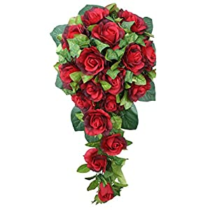 Red Silk Rose Cascade - Bridal Wedding Bouquet 1