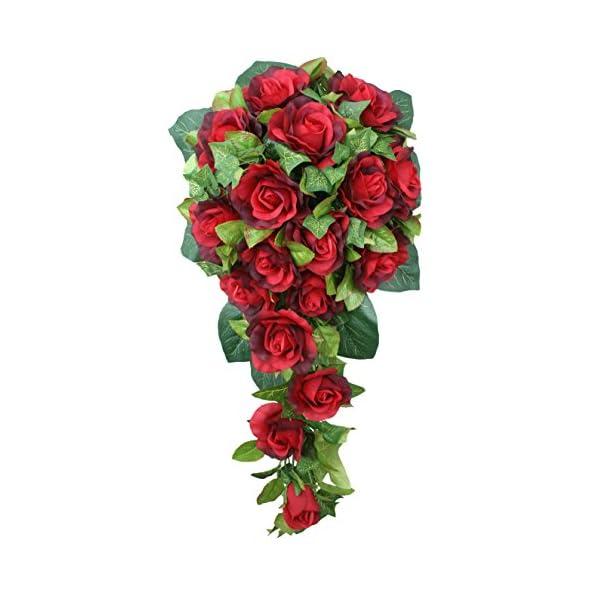 Red Silk Rose Cascade – Bridal Wedding Bouquet