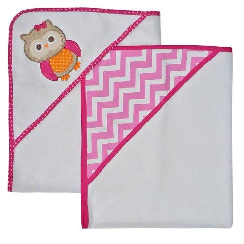 Neat Solutions Applique Print Interlock Knit Terry Hooded Towel Set, Owl, (Polka Dot Hooded Towel)