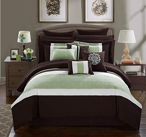 Chic Home Pisa 16 Piece Bed in a Bag Comforter Set, King, Brown, - 16 Home Piece