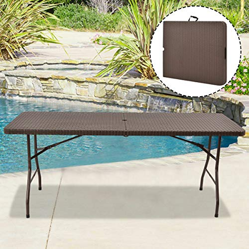 Tangkula 6′ Folding Table, Portable Rattan Design, Indoor/Outdoor Use with Carrying Handle (6 feet)