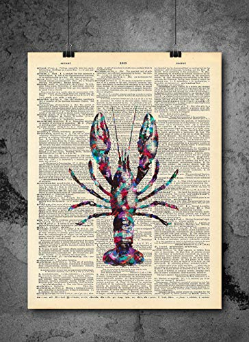 Lobster Vintage Print - Vintage Art - Authentic Upcycled Dictionary Art Print - Home or Office Decor - Inspirational And Motivational Quote Art