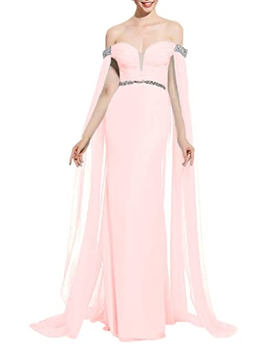 Fluorodine Women's Off Shoulder Sweetheart Mermaid Evening Dress with Cape