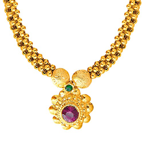 bodha 22K Gold Plated Traditional Indian Necklace for Women (SJ_2292) ()