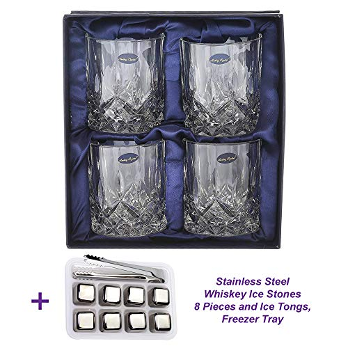 Amlong Crystal Lead Free Double Old Fashioned Crystal Whiskey Glasses 9 Ounce, Set of 4, with Stainless Steel Reusable Ice Stones, Set of 8 pieces