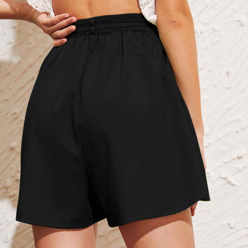❤️ EDC 2019 Summer Womens Solid Strappy Chiffon Shorts High Waist Straight Button Wide Leg Slimming Pants with Pocket