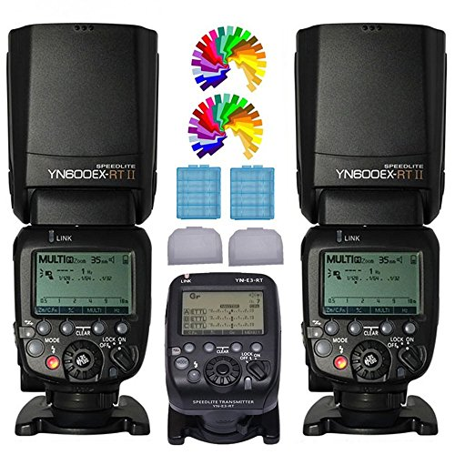 Yongnuo YN600EX-RT II Wireless Flash Speedlite 2PCS + YN-E3-RT Wireless E-TTL Flash Trigger Transmitter For Canon Digital SLR Cameras 600ex-rt (Best Yongnuo Flash For Canon 60d)