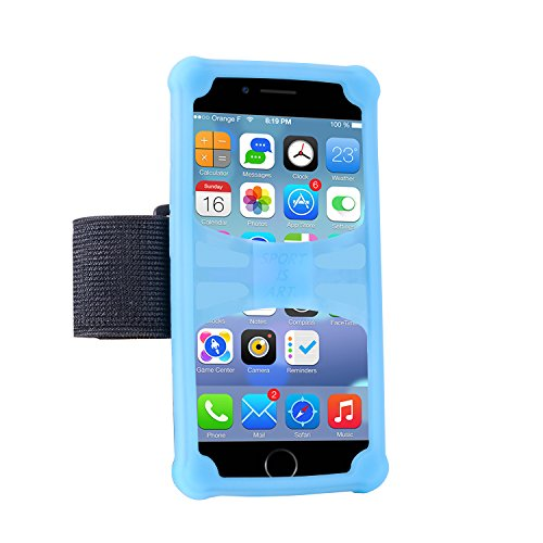 Cell Phone Armband Walless Night Running Well-Rounded Protection Holder for iphone 6/6S/7/7 plus Samsung Galaxy S7 edge and other Smartphones (Blue 5.5-6.0)