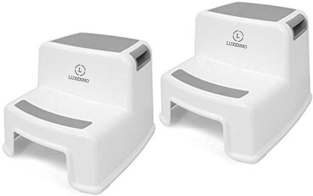 (2 Pack) Dual Height Step Stool for Toddlers & Kids, Nursery Step Stool Potty Training Stool for Bathroom, Kitchen, Two-Step Design with Soft No-Slip Grips and Safe, White & Grey, by Luxenno