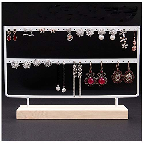 JOLY Black Metal Jewelry Earring Holder/Organizer / Stand/Display with Wooden Base (L, ()