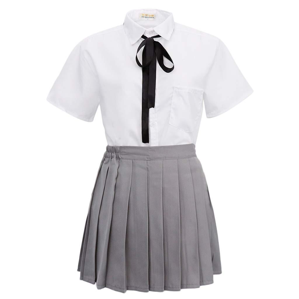 KESOTO Uniforme Escolar Camiseta de Manga Corta con Falda Plisada ...