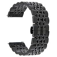 Bandas Gear S3, TRUMiRR 22mm Sólido Reloj de liberación rápida Correa de hebilla de mariposa de acero inoxidable para Samsung Gear S3 Frontier clásico, Galaxy Watch 46mm, Gear 2 R380 R381 R382 SmartWatch, Negro