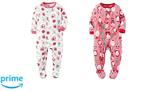 5308260f8d Amazon.com  Carters Baby Girls Fleece Sleep   Play Footed Sleepers Holiday  Theme Set of 2 (24 Month)  Clothing