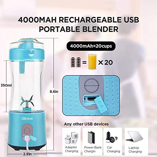 Portable Blender, Olivivi Personal Blender Bottle Mini Smoothie Blender 6 Powerful Blades, 4000mAh Rechargeable USB Juicer Cup Bottle with Strainer Cleaning Brush for Travel BPA Free Blue
