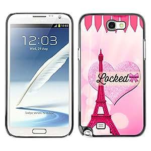 Exotic-Star ( Heart Eifel Tower Pink Love Paris ) Fundas Cover Cubre Hard Case Cover para SAMSUNG Galaxy Note 2 II / N7100