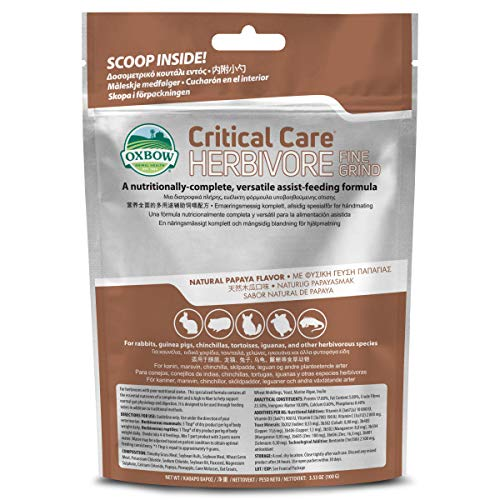 Oxbow Animal Health Critical Care, Herbivore, Fine Grind Papaya Flavor, 100 Gram Bag