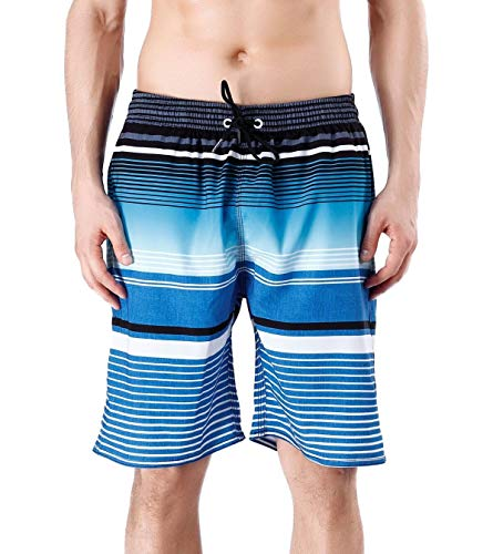 QRANSS Men's Quick Dry Swimming Trunks Bathing Suit Shorts Striped Mesh Liner (X-Large / 42-44 Inches, Blue Stripes) ()