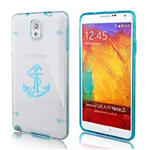 Samsung Galaxy Note 4 Ultra Thin Transparent Clear Hard TPU Case Cover Anchor with Rope (Light Blue)