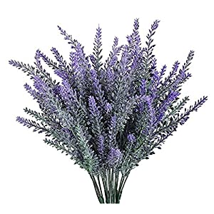 Leyaron 6 Bundles Artificial Lavender Bouquet Fake Lavender Bunch Purple Lavender Flowers Artificial Plant for Wedding, Home Decor, Office, Garden, Patio Decoration 85