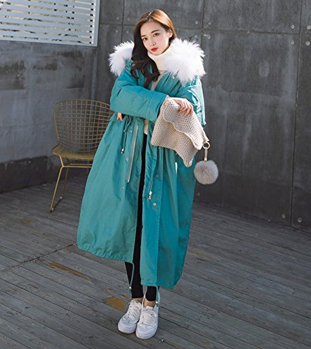 Cotton Down Jacket Hair Feathers Sweater Collar Hooded Knee Blue Women Winter Oversized Jacket white Xuanku Long hair Cotton Warm Thickening WROxZCp