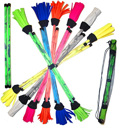 Stick And Hoop (Pro COMMANDO Flower Stick Set (6 Colours) - Fiber Core With Silicone Coating + Camo Handsticks + Mr Babache Devil Stick Book(Price is for ONE Flowerstick & Handstick set) (Green/Green Handsticks))