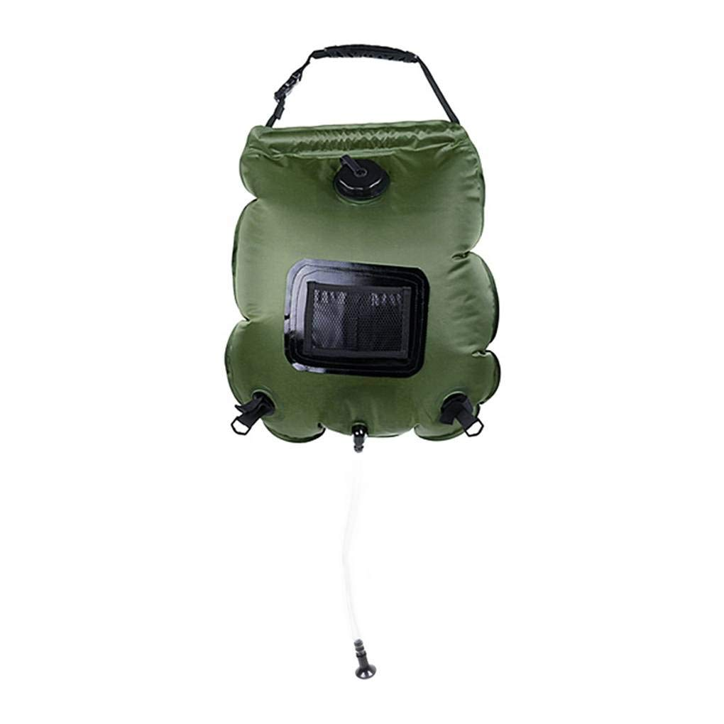 20L ポータブルソーラーパワーシャワーバッグ アウトドア温水ストレージバッグ 折りたたみ式 超軽量 キャンプ ハイキング トラベルバッグ 50 * 46cm(expand), 29 * 12cm(storage) グリーン B07J4TXWV9