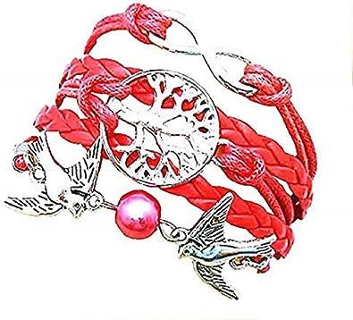 Legisdream - Pulsera Multicapa de Color Rojo con símbolo del Infinito del árbol de la Vida, Paloma y Perla roja de Plata, Cualquier ocasión