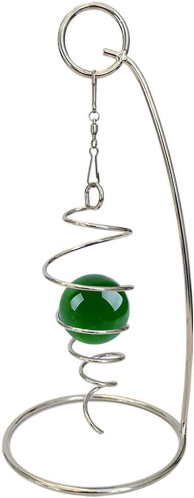 "Qwirly Mini - Desktop Spiral Spinner with Kinetic Decorative Sphere Toy - Christmas Ornament and Holidays Decorations Gift for Home and Office - 4"" Hanging Spiral Tail and 7"" Stand, Silver Green"