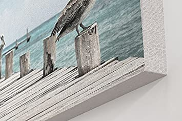 Westlake Art – Pier Pelican – 24×36 Canvas Print Wall Art – Canvas Stretched Gallery Wrap Modern Picture Photography Artwork – Ready to Hang 24×36 Inch