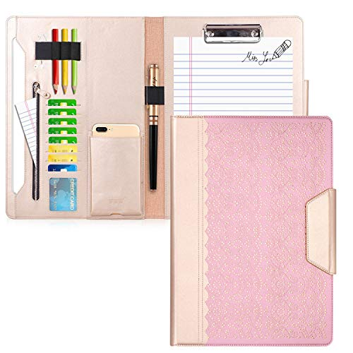 WWW Portfolio Case/Portfolio Folder, Interview/Legal Document Organizer with Business Card Holders, Letter-Sized Clipboard and Document Sleeve for Office and Interview Rose Gold