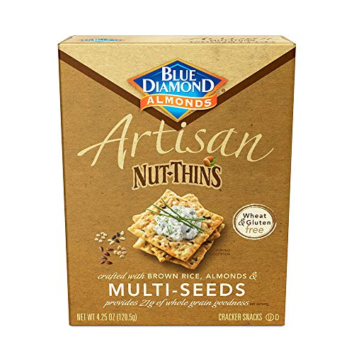 Blue Diamond Almonds Artisan Nut Thins Cracker Crisps, Multi-Seeds, 4.25 Ounce (Pack of 12)