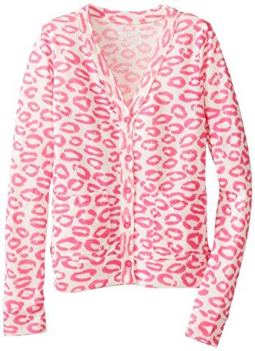 One Step Up Big Girls' Animal Print Cardigan, Natural Shell, Small