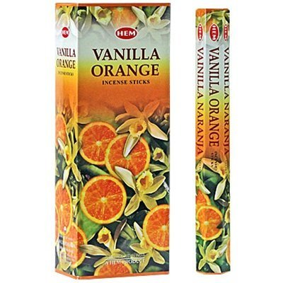 1 X Vanilla Orange - Box of Six 20 Stick Tubes - HEM - Sticks Orange Incense