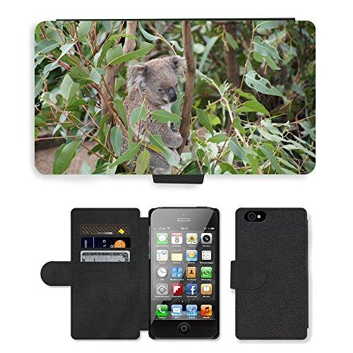 Just Phone Cases PU Leather Flip Custodia Protettiva Case Cover per // M00128079 Koala Australie Koala ours Lazy Rest // Apple iPhone 4 4S 4G