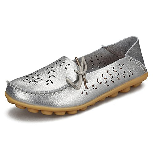 fereshte Womens Genuine Leather Cutout Casual Loafers Slip-on Slippers Driving Flat Shoes for Mother Silver ApJaI