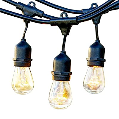 Brightech Ambience Pro Commercial Grade Outdoor Strand Lights with Hanging Sockets - Market Cafe Edison Vintage Bistro Weatherproof Strand for Patio Garden Porch Backyard Party Deck Yard