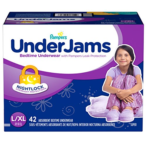 Pampers UnderJams Disposable Bedtime Underwear for Girls Size L/XL, 42 Count, SUPER by Pampers (Image #6)