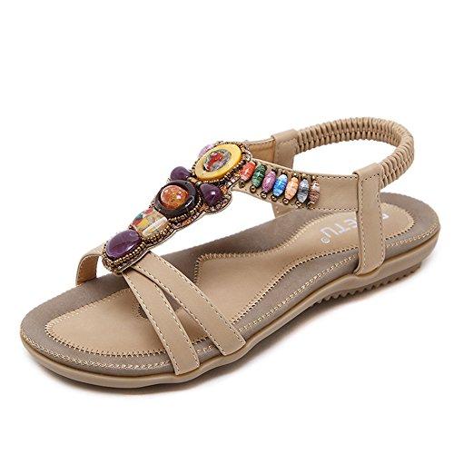 Leather Bke (Women Sandals Summer Shoes Genuine Leather Ladies Comfortable Flat Sandals(Beige 37/6.5 B(M) US Women))