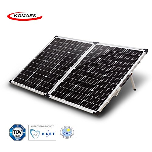 Industrial Solar Panel - KOMAES 100 Watt 12V/24V Monocrystalline Portable Folding Solar Panel Suitcase With Energy-efficient Technology Includes PWM Controller, Padded Bag