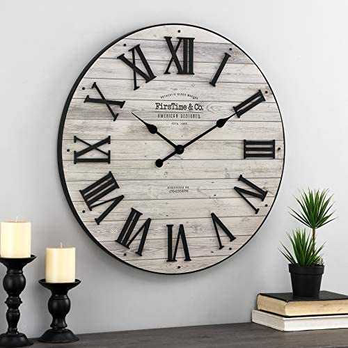 FirsTime Co. Brown Emmett Farmhouse Shiplap Clock