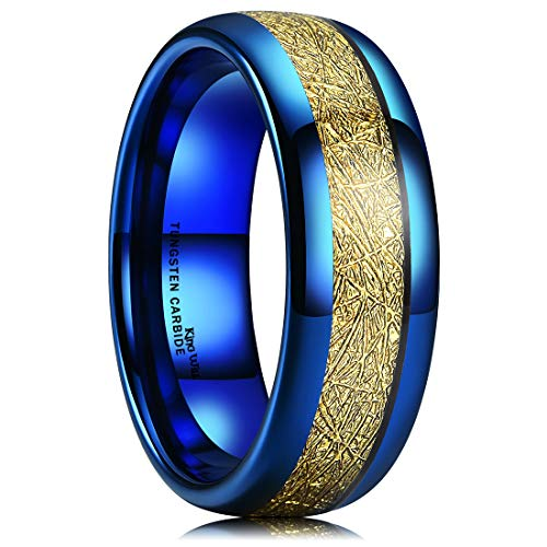 King Will Meteor Mens 8mm Blue Domed Tungsten Carbide Ring with Gold Meteorite Inlay Plated Style 7