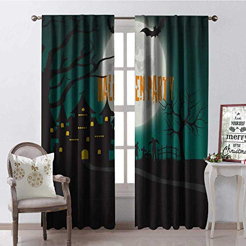 Hengshu Halloween Party Moon Castle Window Curtain Drape Customized Curtains W72 x L84 ()