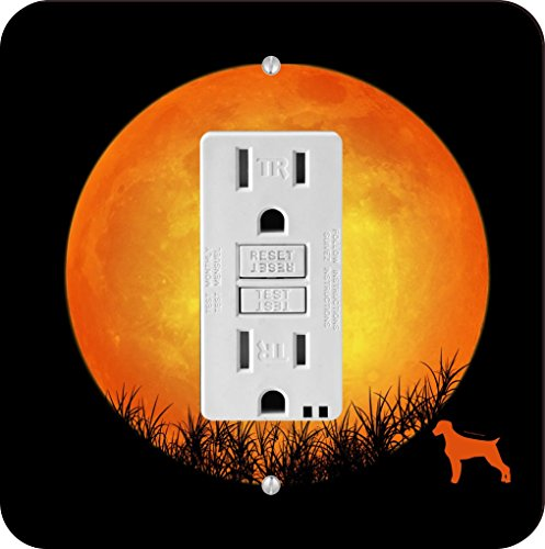 Rikki Knight 41380 German Wirehaired Pointer Dog Silhouette By Moon Design Light Switch Plate