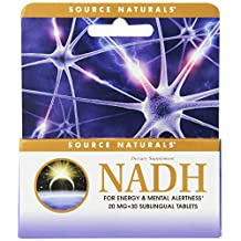 Source Naturals NADH 20mg Sublingual, Boost Energy and Mental Alertness, 30 Tablets