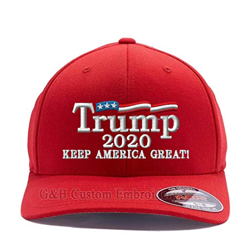 Trump 2020 Keep America Great hat. Embroidered. 6277 Wooly Combed Twill Flexfit Cap (S/M, - Wool Hat Embroidered